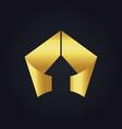 gold arrow triangle shape ribbon logo vector image vector image