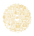 Gold Happy Easter Holiday Line Icons Set Circle vector image vector image