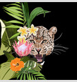 graceful leopard and tropical flowers and palm vector image vector image