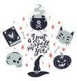 halloween lettering quote with witchery elements vector image vector image