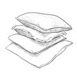 hand drawn sketch of pillows vector image