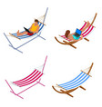 isometric garden hammock relaxing in hammock vector image