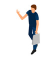 man with shop bag icon isometric style vector image