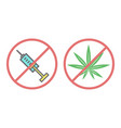 no drugs and no cannabis icon vector image