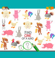 one a kind game with cartoon farm animals vector image vector image