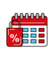 online shopping bag discount percentage calendar vector image vector image