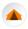 orange touristic camping tent icon circle vector image vector image