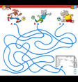 paths maze game with soccer animals vector image vector image