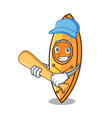 playing baseball canoe character cartoon style vector image