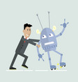 robot and human competition vector image