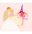 Romantic couple in Paris kissing near the Eiffel vector image vector image
