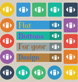 rugby ball icon sign Set of twenty colored flat vector image