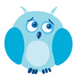 sad owl on white background vector image vector image