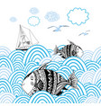sea background with fishes vector image vector image