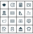 set of 16 school icons includes taped book paper vector image vector image