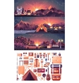 set of night landscape mountains vector image vector image