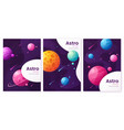 set outer space futuristic cartoon backgrounds vector image vector image