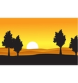 Silhouette of tree on the hill at the sunset vector image vector image