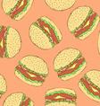 Sketch tasty hamburger in vintage style vector image vector image