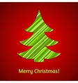 Stylized stripy paper fir tree Christmas card vector image vector image