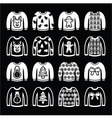 Ugly Christmas sweater on jumper white icons set vector image vector image