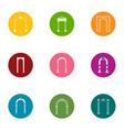 arch space icons set flat style vector image vector image