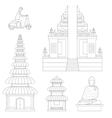 Bali Thin Line Art vector image vector image
