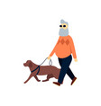 blind senior with guide dog old man impaired vector image