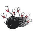 bowling ball crashing into the pins vector image vector image