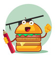 burger with a graduation cap holds a pencil on vector image vector image