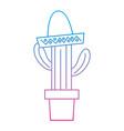 cactus with sombrero mexico culture icon imag vector image