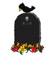 cartoon tombstone isolated on white backgro vector image vector image