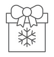 christmas box thin line icon present and new year vector image vector image