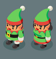 christmas elf santa claus helper isometric male vector image vector image