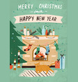 christmas greeting card with cozy home interior vector image vector image