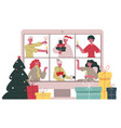 christmas online chat merry friends vector image