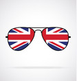 cool aviator sunglasses with uk flag union jack vector image vector image