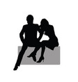 couple sitting on the rock black silhouette vector image vector image