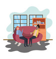 couple using smartphone in office work vector image vector image