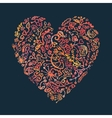 creative doodle watercolor heart on dark vector image vector image