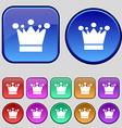 Crown icon sign A set of twelve vintage buttons vector image vector image