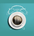 cup coffee on table drawn sketch alarm vector image vector image