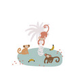 cute cartoon monkey on island childish vector image