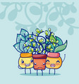 cute houseplants kawaii cartoon vector image