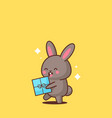 cute rabbit holding wrapped present box happy vector image vector image