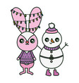 cute rabbit with lights and snowman merry vector image vector image