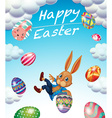 Easter festival with bunny and decorated eggs vector image vector image