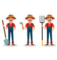 farmer cartoon character set vector image vector image