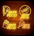 fast food with neon lights icons vector image vector image