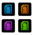 glowing neon avi file document icon download avi vector image vector image
